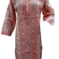 Peach Tunic Floral Embroidered Cotton Kurta Coverup Dress Small Size