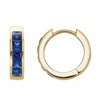 14k Yellow Gold Created Blue Sapphire Hinged Round Hoop Earrings, 14mm