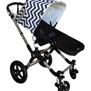 Bugaboo Hood, Custom emaSema Navy and White Chevron Sun Canopy for Bugaboo Cameleon,  Bee, Frog, Donkey