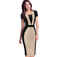 VfEmage Womens Elegant Optical Illusion Colorblock Contrast Modest Slim Work Business Casual Party