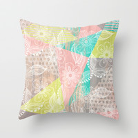Floral MIX Throw Pillow by Louise Machado