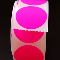 Neon Pink Circle Stickers 25 by CupcakeSocial on Etsy