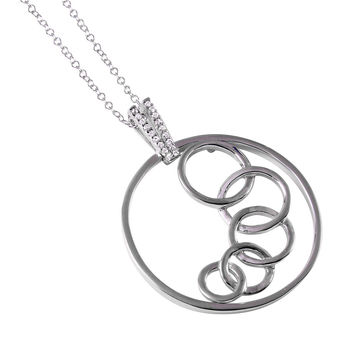 .925 Sterling Silver Rhodium Plated Linked Open Circles Necklace 18 Inches