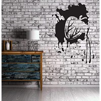Vinyl Decal Heart Bleed Love and Hate Abstraction Bleeding Wall Sticker Unique Gift (n006)