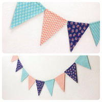 Fabric Double-sided Bunting Pennant Flag Banner, Girls Room, Boys Dorm Birthday Party Baby Wedding, Photo Prop // Retro Floral Chevron Arrow