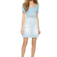 Denim Light Blue Cross Back Short-Sleeve Dress