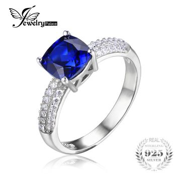 JewelryPalace Cushion 2.6ct Created Blue Sapphire Solitaire Engagement Ring For Women Genuine 925 Sterling Silver luxury Jewelry