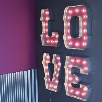 WILD LOVE with SILVER edging globe lights and Special Spacing: Carnival Letters Light Up Letter Lamp and Marquee Sign