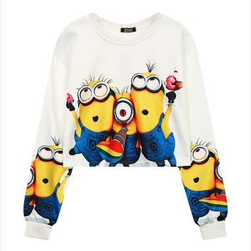 Hoodies Femme 2016 Minions Animals Printing Crop Tops Long Sleeves O-neck Thread Cuff Autumn Women Tops Sudaderas Moletom Mujer