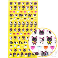Black and White French Bulldog Pet Shaped Puffy Sticker Seals | Cute Animal Inspired Scrapbook Decorating Supplies
