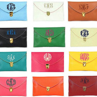 Monogram Clutch Purse Embroidery Bride Maid Of Honor Bridesmaid Gift Crossbody Bag Purse Envelop