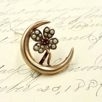 Antique 10K GOLD CRESCENT MOON Seed Pearl Ruby Watch Pin Brooch