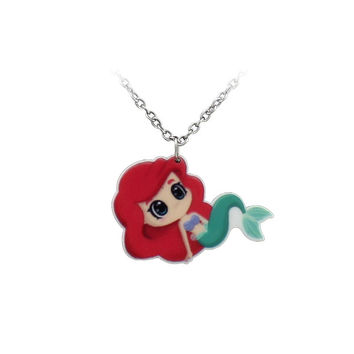 Little Mermaid anime style super deformed Ariel Necklace chain SQ12017 hwd