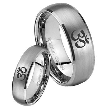 His Her Satin Silver Dome Ohm Design Om Yoga Tungsten Carbide Wedding Rings Set