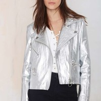 American Retro Sonja Metallic Leather Moto Jacket