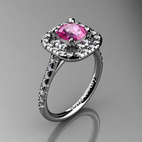 French 14K White Gold 1.0 Ct Pink Sapphire Diamond Engagement Ring R1028-14KWGDPS