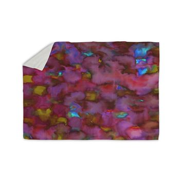 "Miranda Mol ""Dreamy Clouds Pink"" Pink Magenta Abstract Pattern Watercolor Painting Sherpa Blanket"
