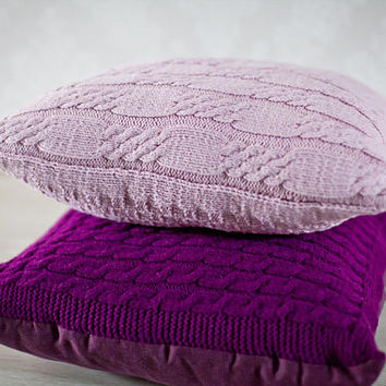 Cable knit pillow cover. Decorative pillow 45x45. Knit home décor. Deep purple knit pillow