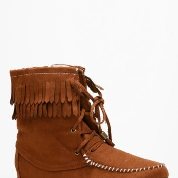 Soda Chestnut Fringe Moccasin Lace Up Boots @ Cicihot Boots Catalog:women's winter boots,leather thigh high boots,black platform knee high boots,over the knee boots,Go Go boots,cowgirl boots,gladiator boots,womens dress boots,skirt boots.