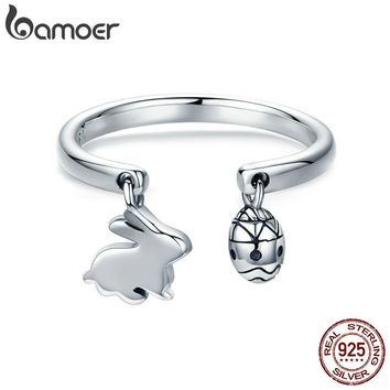 BAMOER 100% 925 Sterling Silver Adjustable Rabbit Easter Bunny & Eggs Female Ring for Women Party Fine Silver Jewelry SCR296