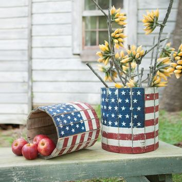 Round Wooden Flag Planters (Set of 2)