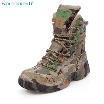 WOLFONROAD Men's Sneakers Outdoor Hiking Shoes Military Tactical Boots Camouflage Combat Shoes Hunting Leather Boots L-YWWS-01