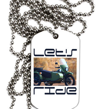 Lets Ride Sidecar Motorcycle Adult Dog Tag Chain Necklace