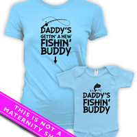 Matching Mommy And Me Clothing Pregnancy Reveal Daddy's Fishing Buddy Baby Bodysuit Maternity Tops Expectant Mother Light Blue MAT-602-603