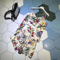 """Gucci""Woman's Leisure  Fashion Letter Printing Loose Sling Vest Short Sleeve Shorts Two-Piece Set Casual Wear"