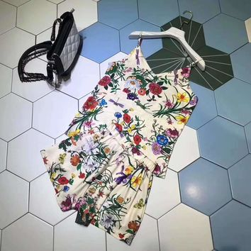 """""""Gucci""""Woman's Leisure  Fashion Letter Printing Loose Sling Vest Short Sleeve Shorts Two-Piece Set Casual Wear"""