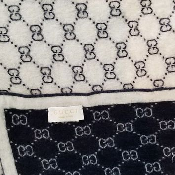 CREYON2D Gucci baby GG pattern wool blanket used dark blue