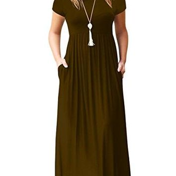 Alickson Fashion Womens Scoop Neck Short Sleeve Long Dresses Casual Maxi Dress with Pockets