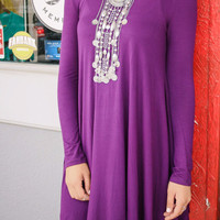 Dusk To Dawn Purple Turtleneck Long Sleeve Swing Dress