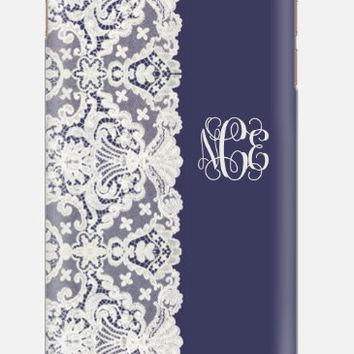 iPhone 6 case, Lace iPhone 6 Case, Monogram iPhone 6 , 5C , 5, 4s cell case ,  cellcasebythatsnancy