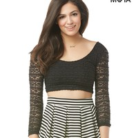 SHEER-BACK LONG SLEEVE LACE CROP TOP