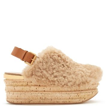 Camilla shearling wedge sandals | Chloé | MATCHESFASHION.COM US