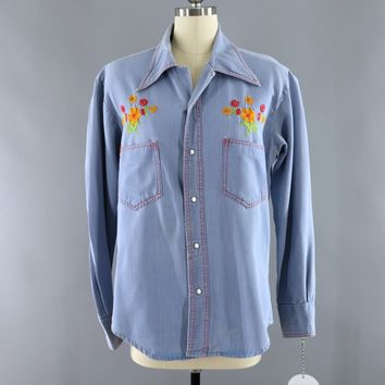 Vintage Chambray Denim Western Shirt / Phoenix Bird Floral Embroidery