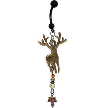 Handcrafted Deer Dangle Belly Ring Created with Swarovski Crystals