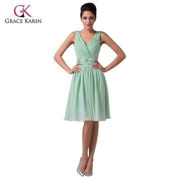 Cheap Mint Green Short Bridesmaid Dresses under 50 Grace Karin Chiffon Knee Length Wedding Party Dress Brides maid Dresses 6104