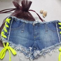 2017 Jeans Women Single-shorts Summer Water Wash Wearing blue Sexy Shorts Feminino Female Jeans Denim Short Bandage Trousers