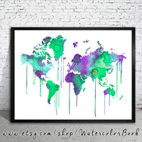 Green WATERCOLOR MAP, World Map, Watercolor Painting, Watercolor poster, Handmade poster, home decor, Map art, watercolor painting,
