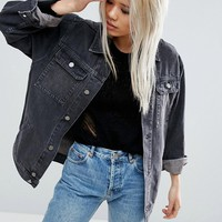 ASOS Denim Girlfriend Jacket in Washed Ozzy Black at asos.com