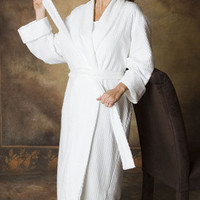 Long Shawl Collar Robe Dot Knit 100% Fine Quality Cotton, MadeInTheUSA | Simple Pleasures, Inc.