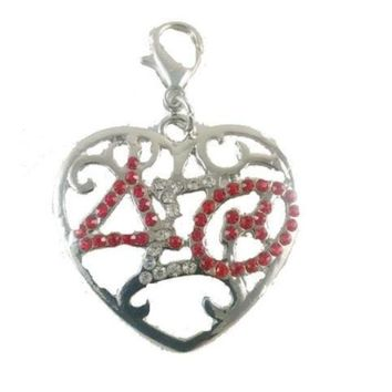 Delta Sigma Theta (DST) Sorority Color Crystal Heart Charm