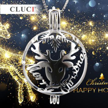 CLUCI silver 925 Deer Alther Pendant Necklaces Lovely Animal cage pendant, Christmas gifts to friends, kids and lovers