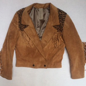 The Sante Fe | Women's Suede Fringe Snap Bomber Jacket with Animal Print by wolf and lamb
