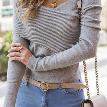 Gray Cold Shoulder V-neck Knit Panel Long Sleeve Chic Women Blouse