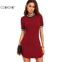 COLROVIE Casual Dresses for Woman Korean Fashion Women Fall Dresses Burgundy Striped Trim Ribbed Knit Bodycon Dress