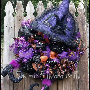 Halloween Wreath, Halloween Deco Mesh Wreath, Witch Wreath, Deco Mesh Wreath, Mesh Wreath, Fall Wreath, Door Wreath, Front Door Wreath