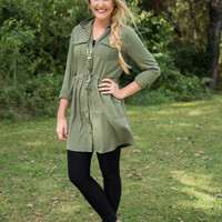 Simply Jane Military Tunic Dress - Olive